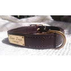 Brown Leather Dog Collars with name plate